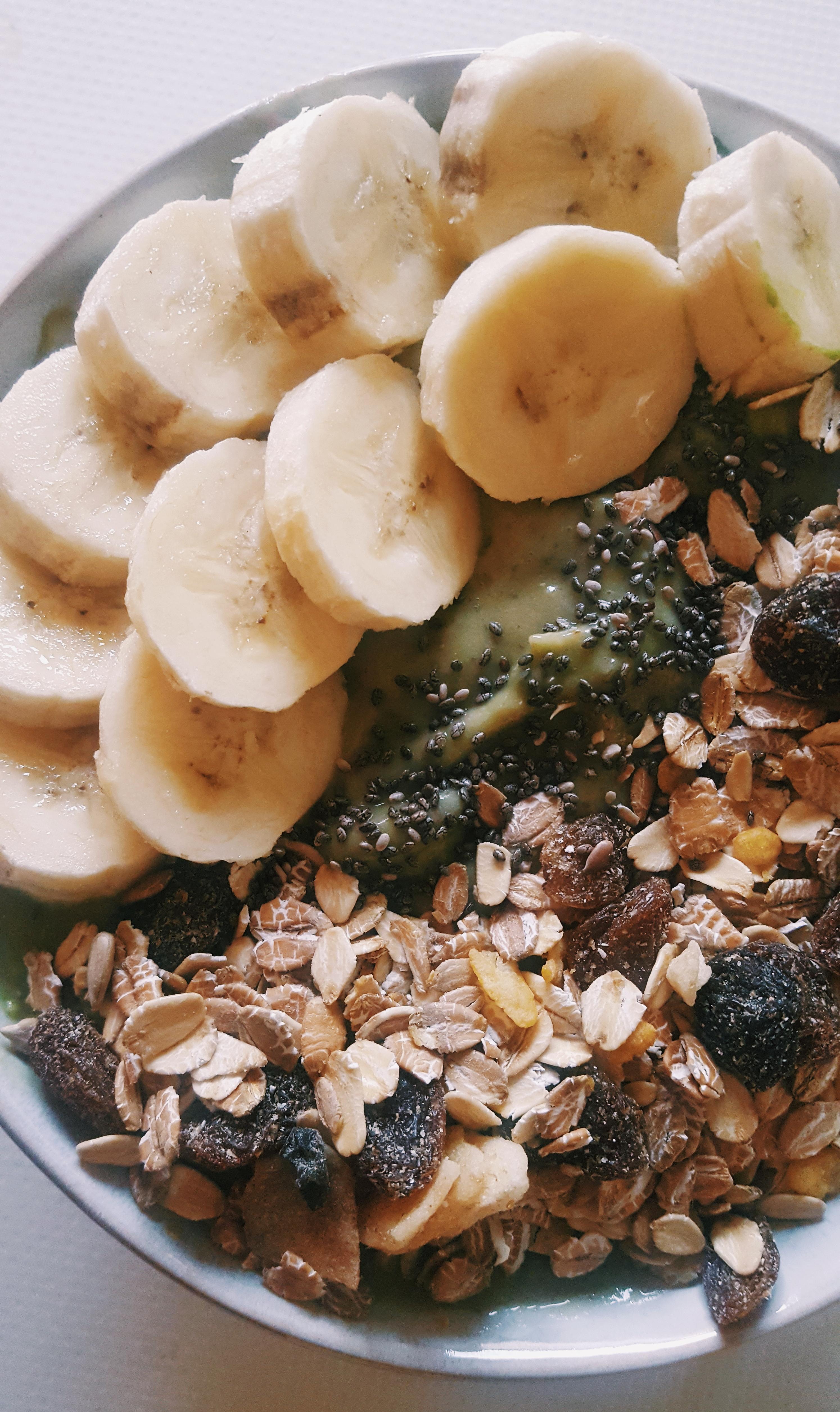 smoothie green bowl dessert petit petit déjeuner chia banane